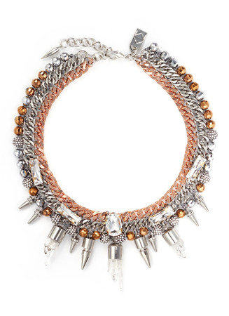 'Eno' mineral crystal spike curb chain collar necklace