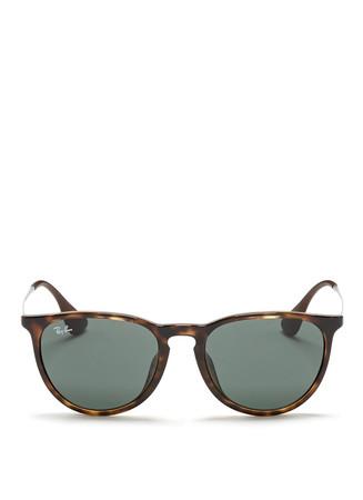 'Erika' tortoiseshell acetate frame metal temple sunglasses