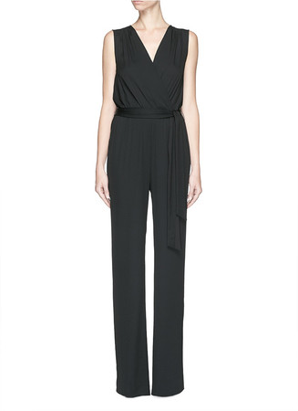 'Eva' wrap front sleeveless crepe jumpsuit
