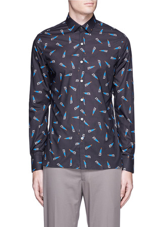 Evolutive' slim fit saw print shirt