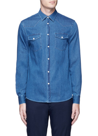 'Ewing' washed cotton denim Western shirt