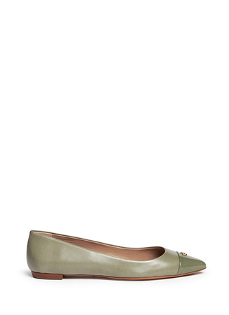 'Fairford' patent leather toe cap flats