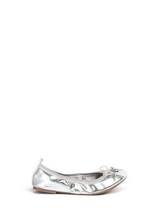 'Farren' metallic faux leather junior ballerina flats