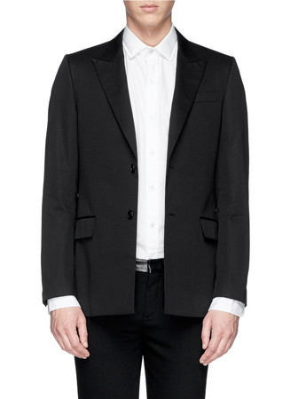 Faux leather band cotton blazer