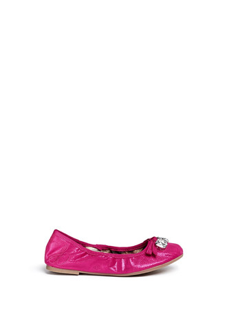 'Fayth' shimmer leather junior ballerina flats