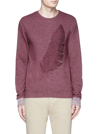 Feather embroidery brushed cotton sweatshirt