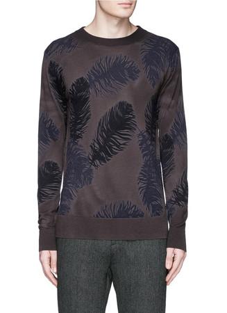 Feather motif Merino wool sweater