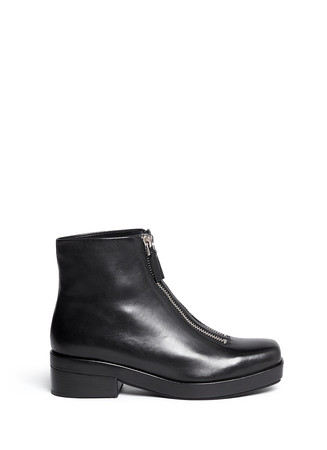 'Federica Low' double zip leather boots