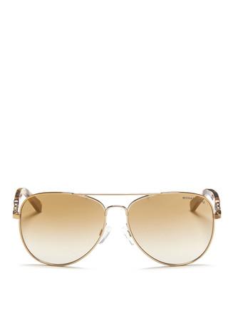 'Fiji' tortoiseshell temple aviator sunglasses