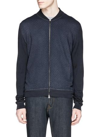 Fine wool intarsia knit zip cardigan