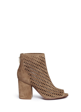 'Flash' lightning bolt perforated suede ankle boots