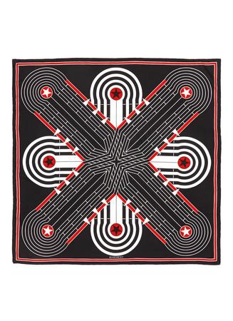 'Flipper' geometric silk twill scarf