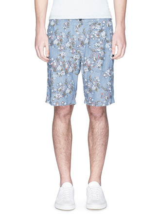 'Floral Camp' print cotton shorts