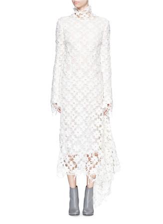 Floral crochet lace asymmetric midi dress