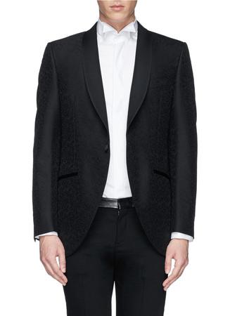 Floral embossed wool-silk tuxedo jacket