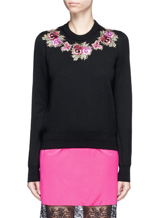Floral embroidery wool knit sweater