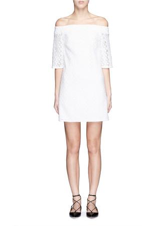 Floral eyelet mesh off-shoulder dress