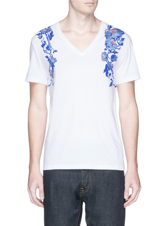 Floral harness embroidery organic cotton T-shirt