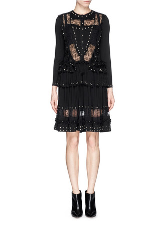 Floral lace stud ruffle trim jersey dress