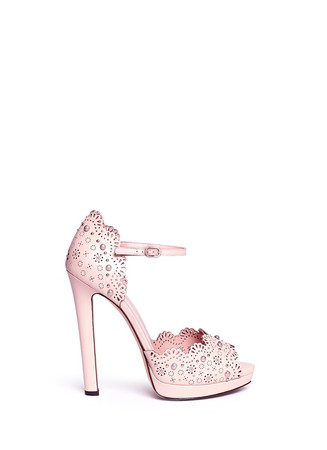 Floral lasercut stud leather platform sandals