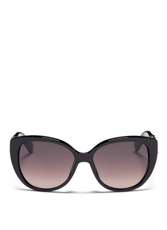 Floral strass temple cat eye sunglasses