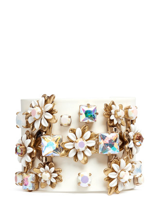 Flower stone cuff bracelet