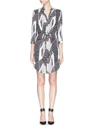 'Freya' ethnic print silk shirt dress