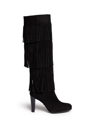 'Fringie' knee high fringe suede boots