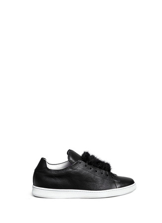 Fur flap leather sneakers