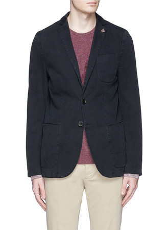 Garment dyed cotton twill blazer