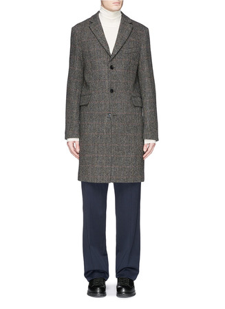 'Garret' herringbone Harris tweed coat