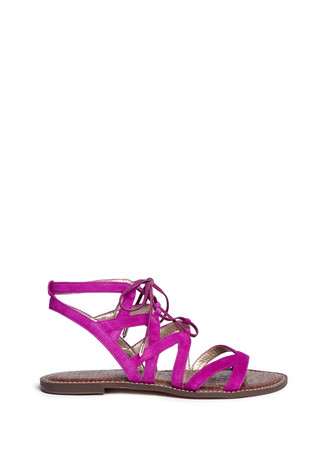 'Gemma' caged suede lace-up sandals