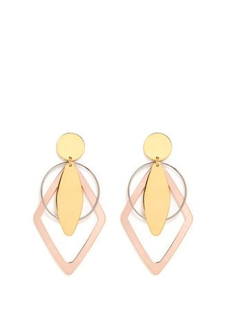 Geometric brass plate clip earrings