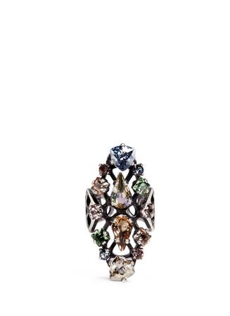 'Ginger' glass crystal fretwork vertical ring