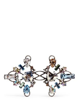'Ginger' glass crystal metal fretwork ring