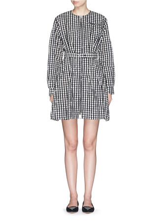 Gingham check cloqué belted zip dress