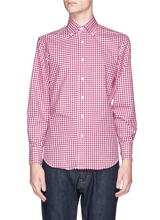 Gingham check cotton poplin shirt