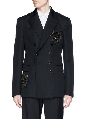 Glass crystal medallion double breasted blazer