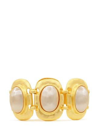 Glass pearl station bracelet