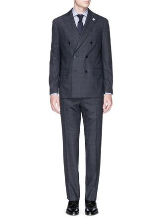 Glen plaid peak lapel wool suit