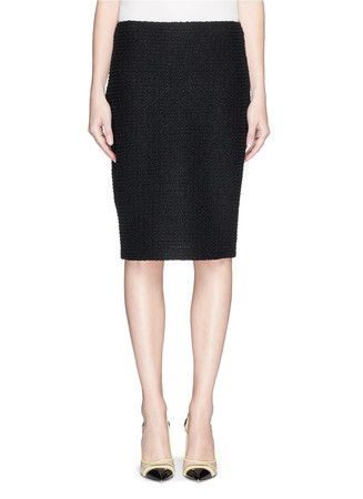 Glitter tweed knit pencil skirt