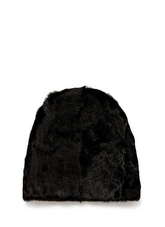 Goat fur wool knit beanie