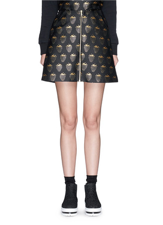 'Gold Lurex Strawberry' jacquard Dora zip skirt