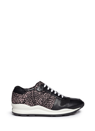 Graphic print leather trim wedge sneakers