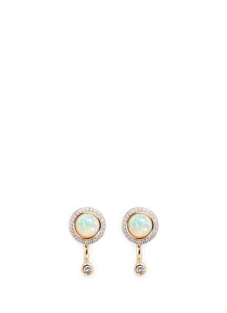 'Gravitation' diamond pavé opal stud earrings