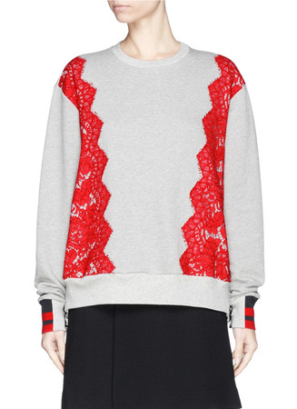 'Gresham' lace side zip cotton sweatshirt