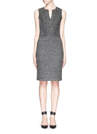 Grid pattern binario tweed knit dress