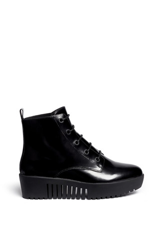'Grunge' lace-up leather platform ankle boots