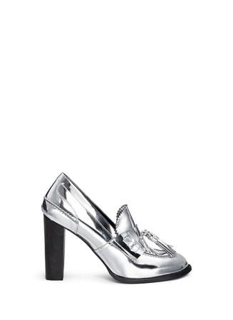 'Hackney' mirror eco leather block heel loafers