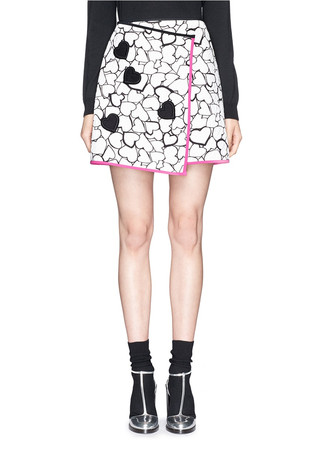Heart print embroidery matelassé asymmetric wrap skirt